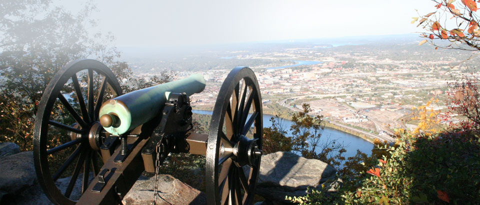 Chattanooga Battlefield Park atop Lookout Mountain overlooking Moccasin Bend